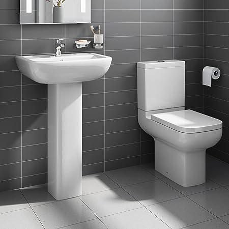 Superieur Short Projection Pedestal Basin Sink + Close Coupled Toilet Bathroom Suite  Set