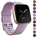 CAVN Woven Bands Compatible with Fitbit Versa / Versa 2 / Versa Lite Edition for Women Men Replacement Fabric Quick Release Watch Woven Band for Versa Smartwatch with Classic Square Stainless Steel Buckle