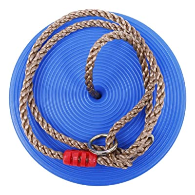 Disc Swing, Disc Rope Seat Swing Adjustable Climbing Rope Swing with 120Kg Load Capacity(Blue): Toys & Games