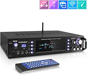 Wireless Bluetooth Home Stereo Amplifier - Hybrid Multi-Channel 3000 Watt Power Amplifier Home Audio Receiver System w/AM/FM Radio, MP3/USB,AUX,RCA Karaoke Mic in - Rack Mount, Remote - Pyle P3301BAT