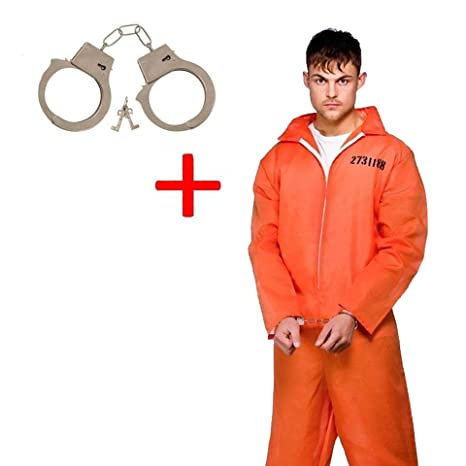 Desconocido Prisoner Convict Orange Jumpsuit Disfraz Disfraz + Esposas de metal