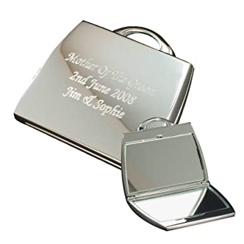 85391ffdcc9 Personalised Silver Finish Engraved Handbag Compact Mirror Great Gift Idea  for Mum Wife Sister Aunty Friends