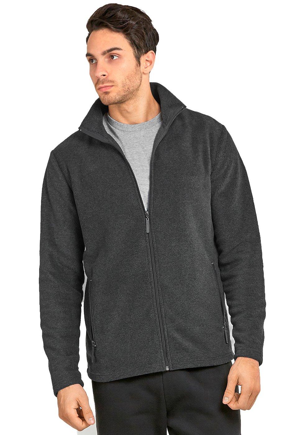 Men's Polar Fleece Zip up Jacket (S, Charcoal)
