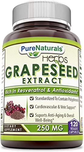 Pure Naturals Grapeseed Extract * 250mg Grape Seed Capsules Rich in Resveratrol * Easier to Take Than Grape Seeds Oil * Supports Immune Health Healthy Ageing * 120 Capsules