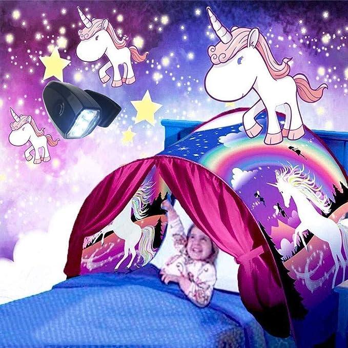 GEATA Niñas Unicornio Niños Sueño Carpa Cama (con luz) Los ...