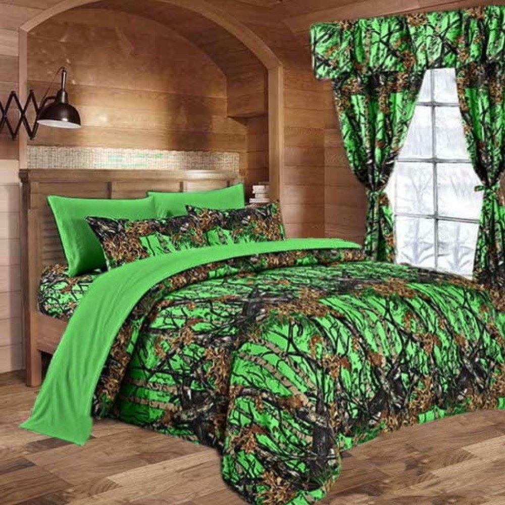 20 Lakes Biohazard Green Camo Comforter, Sheet, Pillowcase Set (Full, Biohazard Green)