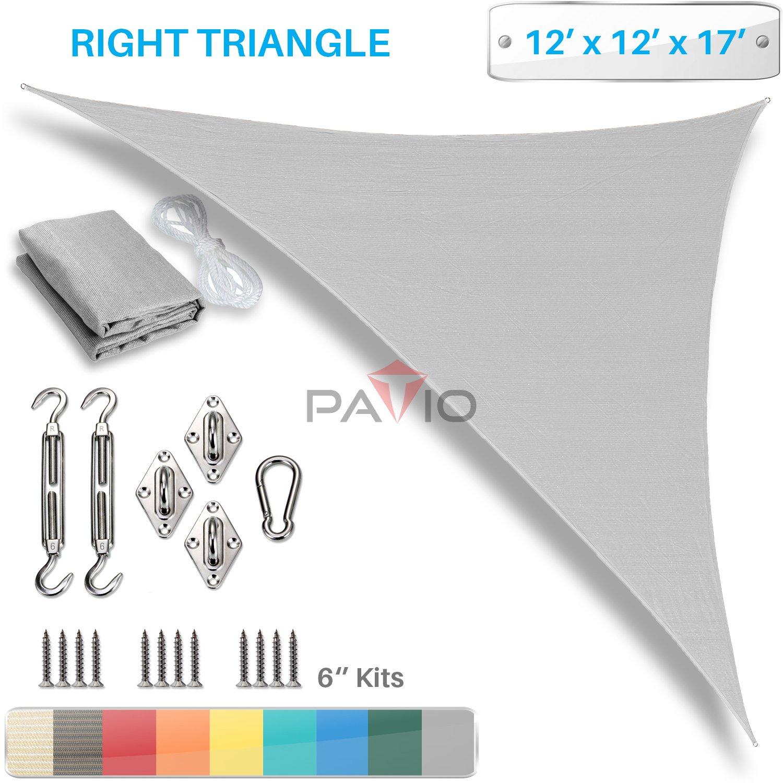Patio Paradise 12' x 12' x 17' Sun Shade Sail with 6 inch Hardware Kit, Light Grey Right Triangle Canopy Durable Shade Fabric Outdoor UV Shelter - 3 Year Warranty - Custom Size Available