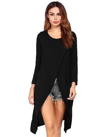 06081f29660 Beyove Women Off Shoulder Long Sleeve Open High Front Split Clubwear ...