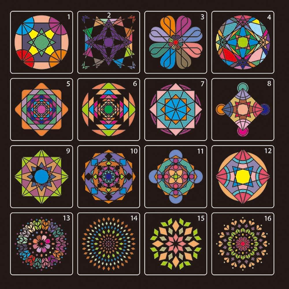 BASIDY 16pcs Mandala Reusable Geometric Stencil Set for Painting on Wood Wall Tile Furniture