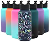 Simple Modern 32 oz Summit Water Bottle with Straw Lid - Gifts for Men & Women Hydro Vacuum Insulated Tumbler Flask Double Wall Liter - 18/8 Stainless Steel Pattern: Floral Swirl