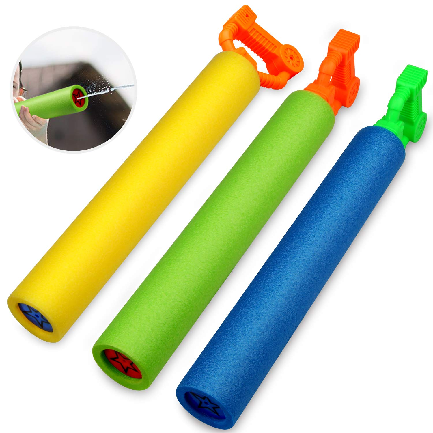 Betheaces Water Guns for Kids, 3Pack Super Soaker Foam Water Blaster Shooter Summer Fun Outdoor Swimming Pool Games Toys for Boys Girls Adults by Betheaces