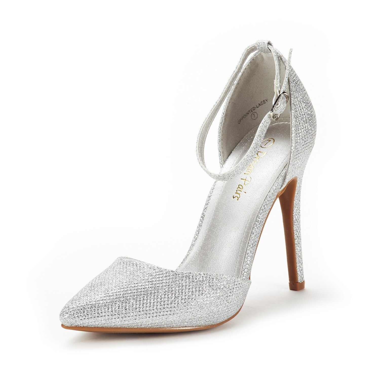 DREAM PAIRS Women's Oppointed-Lacey Silver Glitter Fashion Dress High Heel Pointed Toe Wedding Pumps Shoes Size 6.5 M US
