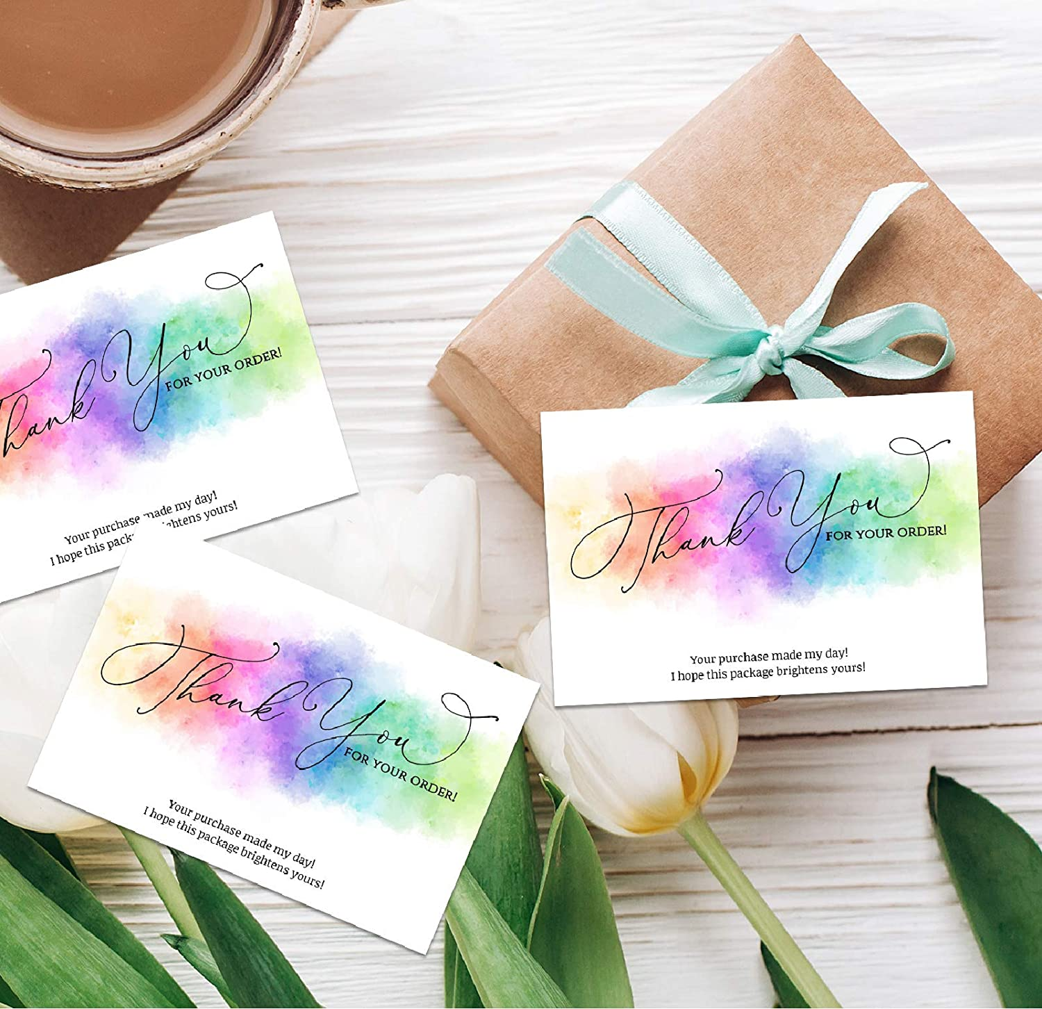 Customer Appreciation Note Cards Online Business 3.5 x 2 You Made My Day Purchase Order Inserts 100 Watercolor Rainbow Thank You for Your Order Cards for Small Business Business Card Size