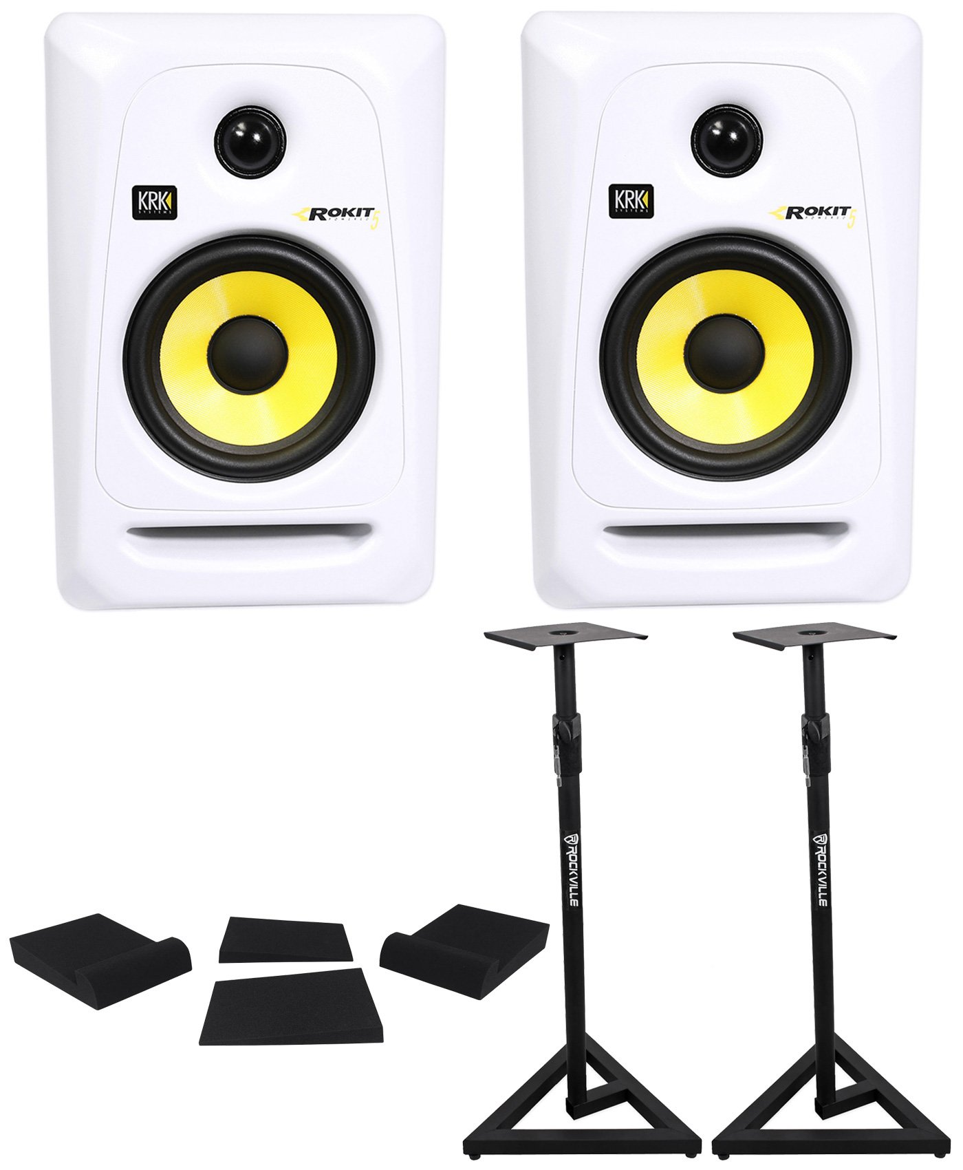 (2) KRK RP5G3W Rokit White 5'' Active Powered Studio Monitors+Stands+Foam Pads