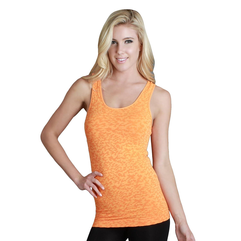 2100d97ea00cc3 Nikibiki Double Fiber Thick Burnout Tank Top 92% Nylon and 8% Spandex  (Celosia Orange) at Amazon Women s Clothing store