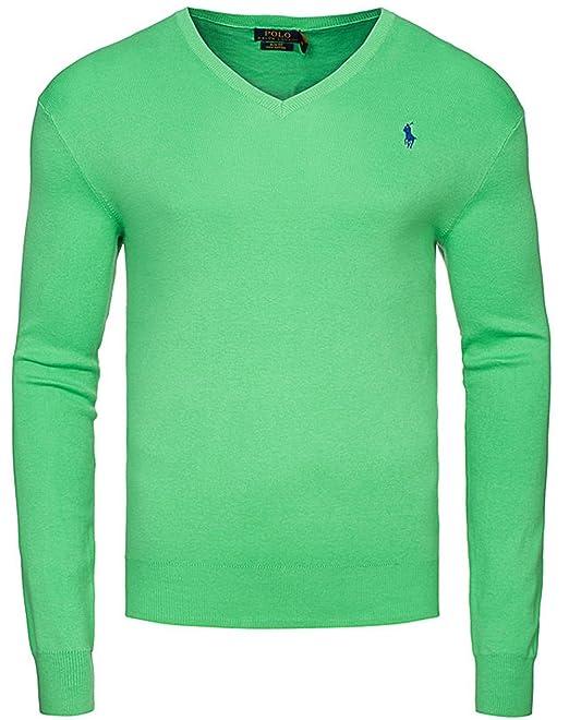 new styles 0051a 6eb0c Polo Ralph Lauren Maglione Uomo Slim Fit cottone Pullover Sweater Maniche  Lunghe Collo V Girocollo