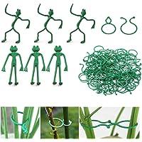Jicyor Clips Plantas Jardín, 200pcs Reutilizables Invernadero Clips Jardineria + 6pcs Flexibles Ajustables Rana Fijación…