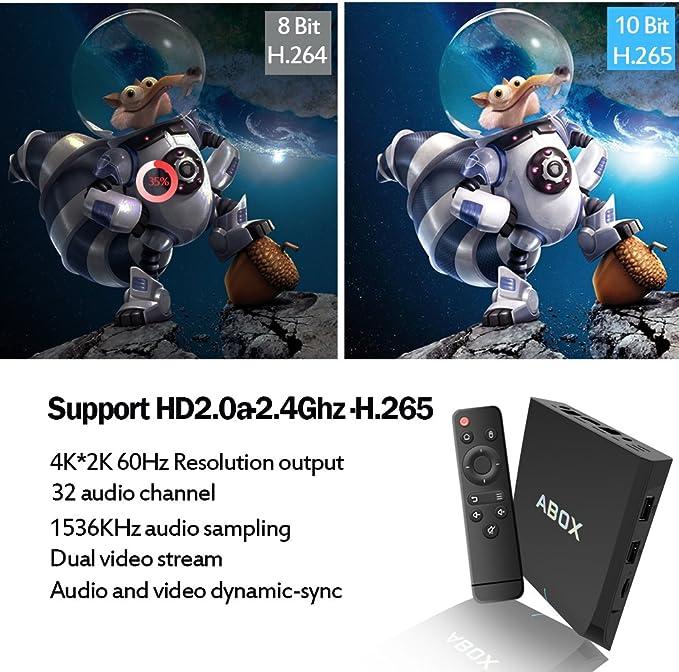 Android 6.0 TV Box [2 GB + 16 GB], 2017 modelo globmall Abox A2 Amlogic S905 X 64 bits Quad Core Smart TV Box Soporte Real 4 K banda dual WiFi 2.4