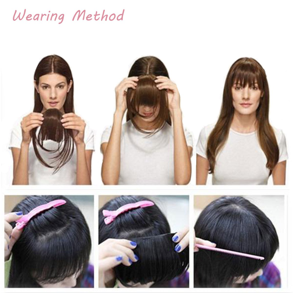 FOCUSSEXY Front Neat Hair Bangs Cosplay Synthetic Heat Resistant Natural Hair Wigs As Real Hair by FOCUSSEXY (Image #4)