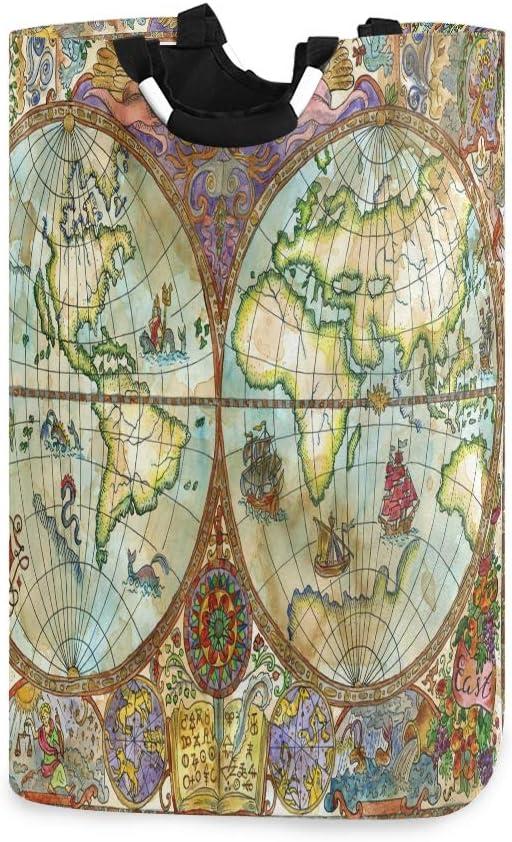 LIFE Cesta para la colada, diseño de mapa del mundo vintage, plegable, con asas, organizador duradero y plegable, para almacenamiento de ropa sucia, juguetes