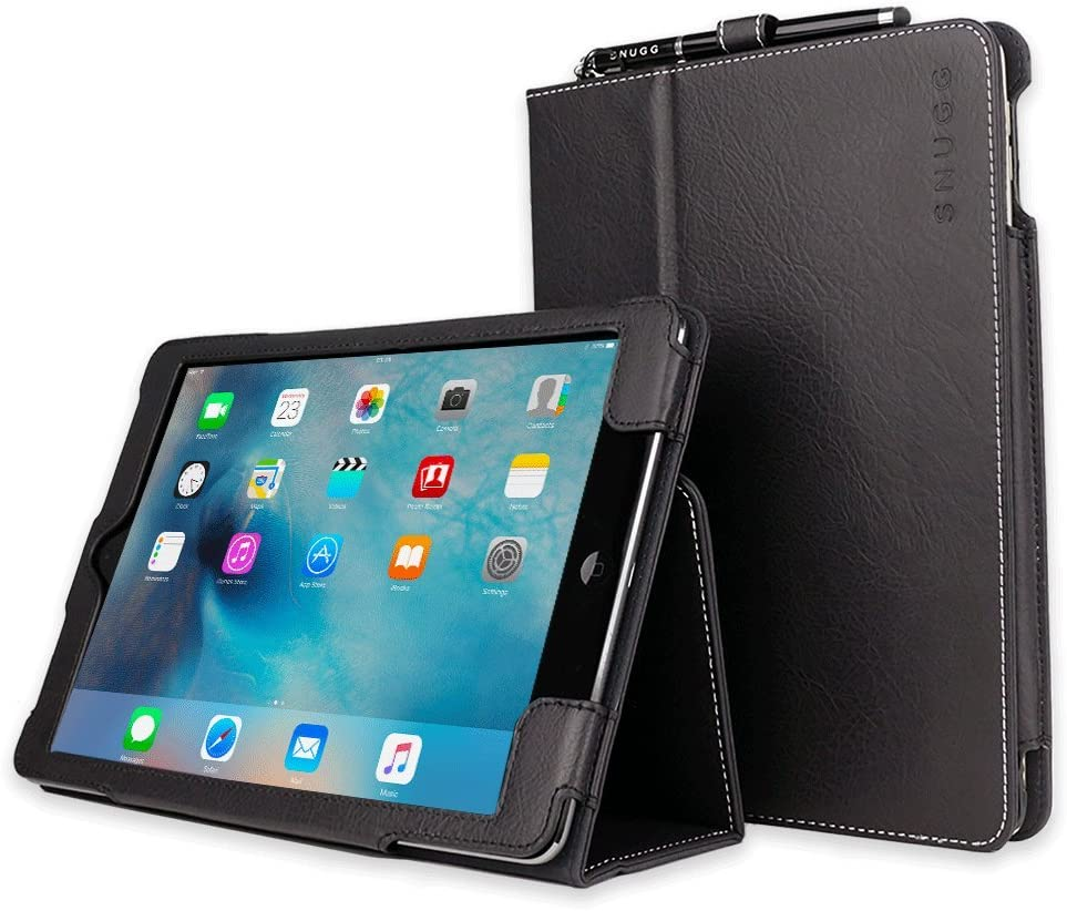 Snugg Apple iPad Air 2 Case - Leather Smart Cover Case with Kick Stand (Black)