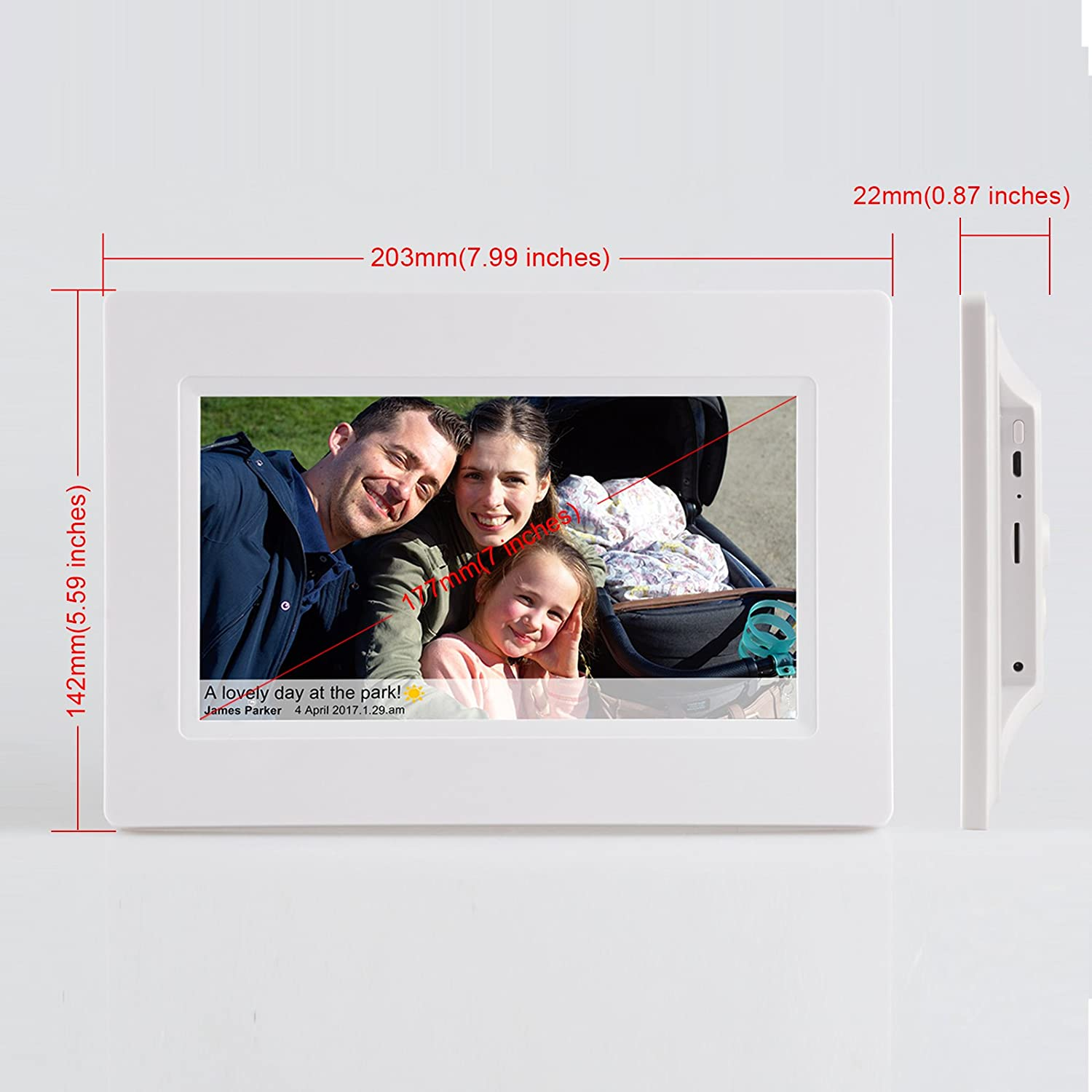 Feelcare 7 Inch Smart Wifi Digital Picture Frame with Touch Screen ...