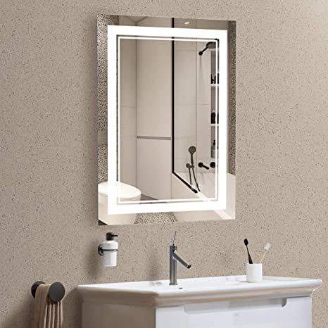 Amazon Com Keonjinn 20 X 28 Inch Led Makeup Bathroom Mirror Anti Fog Dimmable Wall Vanity Mirror With Light Horizontal Vertical Kitchen Dining