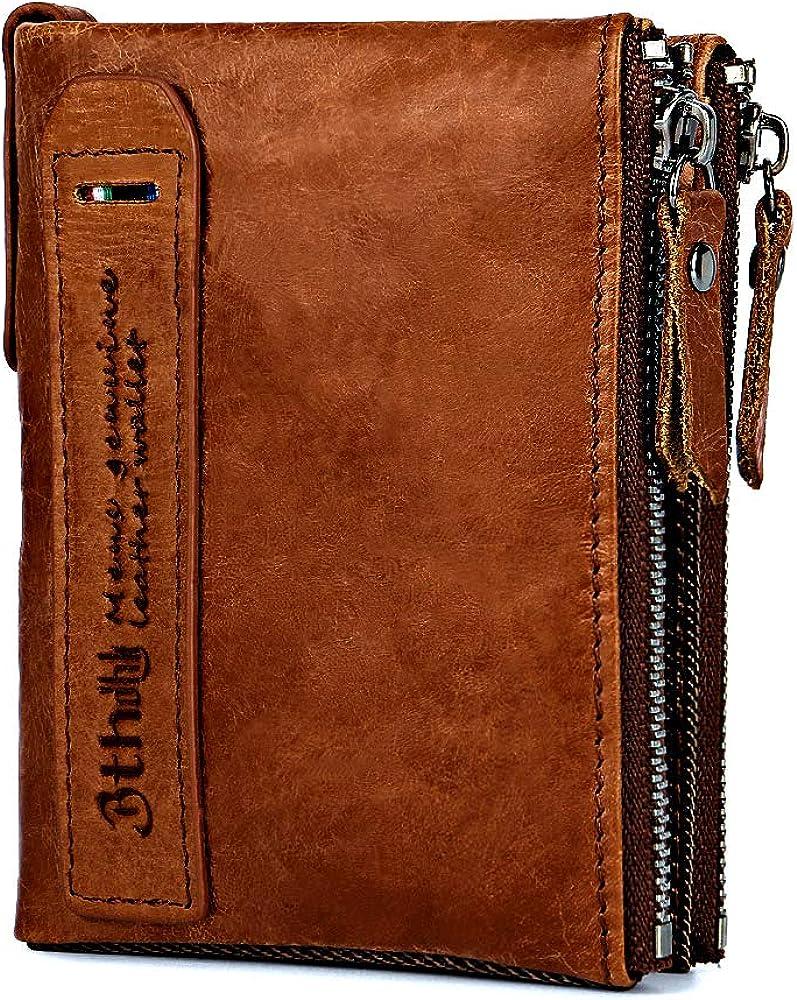 Men/'s Wallet Minimalist Vintage Cowhide Leather Wallet With zipper pocket for