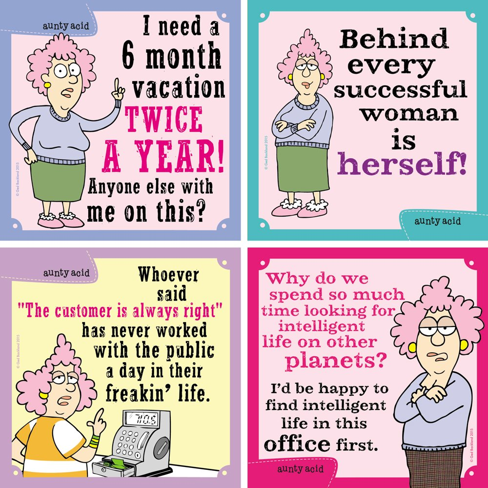MG97530 Aunty Acid Six Month Vacations Tree-Free Greetings Premium Refrigerator Magnet 3.5 x 3.5 Inches