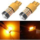 Alla Lighting 39-SMD 7443 7440 T20 High Power 2835 Chipsets Xtremely Super Bright Amber Yellow LED Bulbs for Turn Signal Light