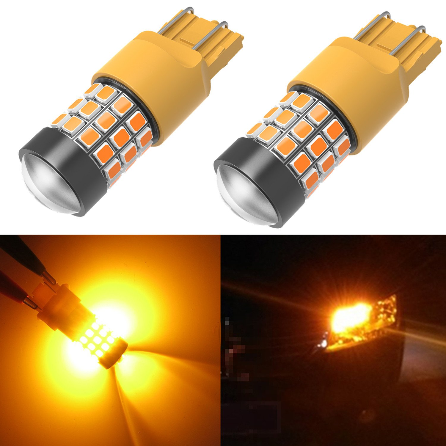 Alla Lighting 39-SMD 7443 7440 T20 High Power 2836 Chipsets Xtremely Super Bright Amber Yellow LED Bulbs for Side Marker Lights