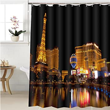 Gzhihine Shower Curtain Las Vegas Nevada Usa Sept Nightlife Along The Famous Strip With