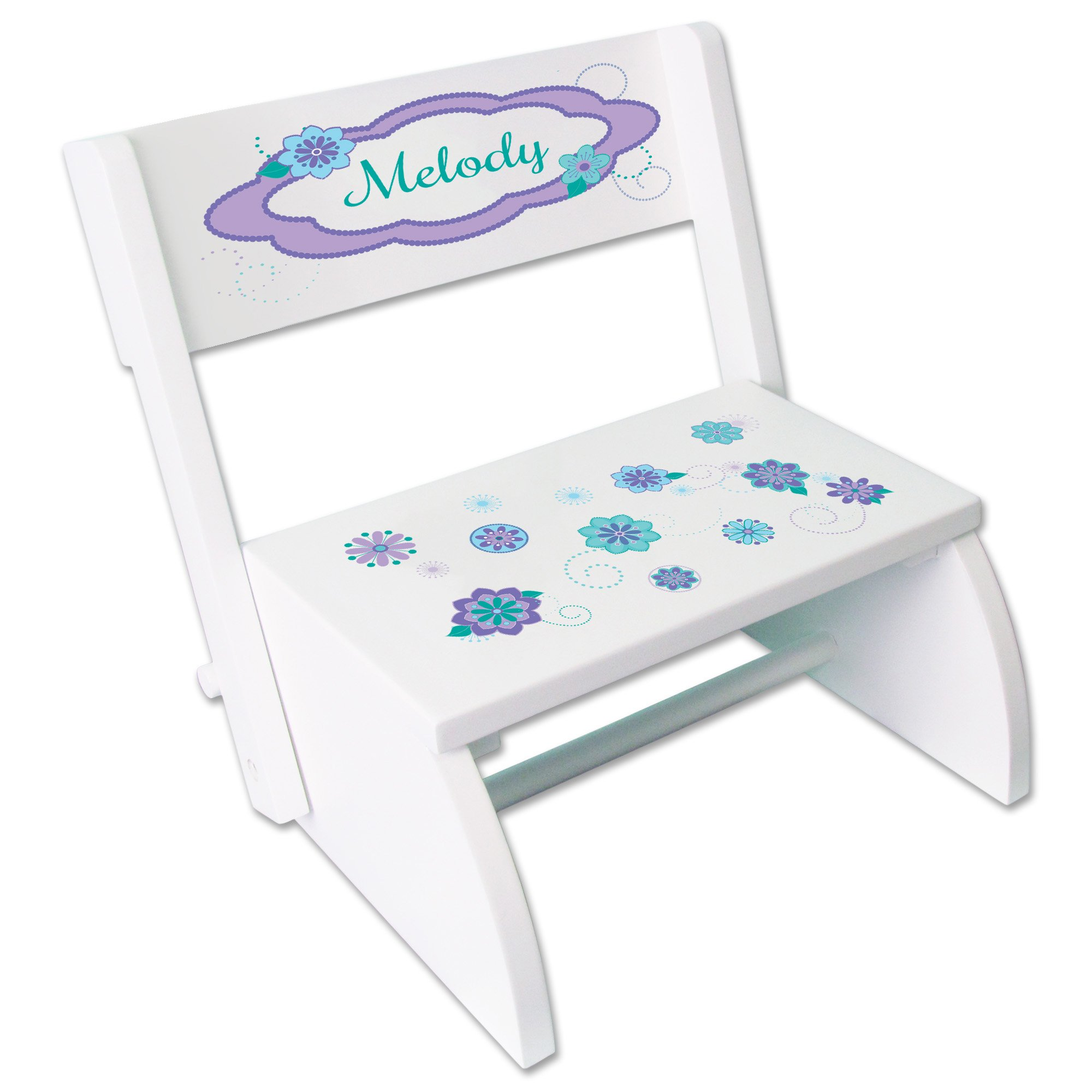 Personalized Heart Balloons Childrens and Toddlers White folding stool
