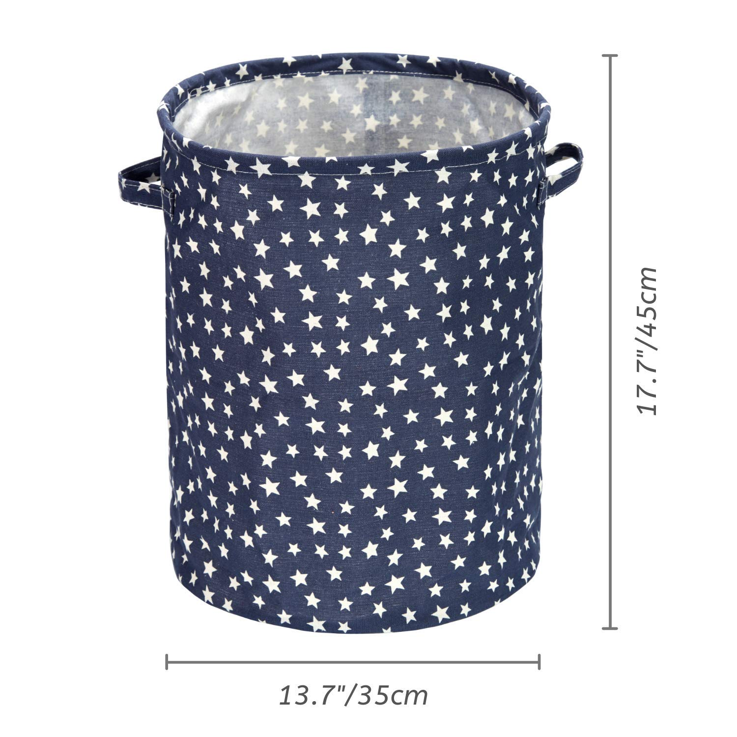 Baby Clothing Mintlyfe 17.7 Large Size Laundry Hamper Storage Basket with Handles Waterproof of Coating Canvas Fabric Kids Storage Bins for Baby Toys Kid Toys Star Books