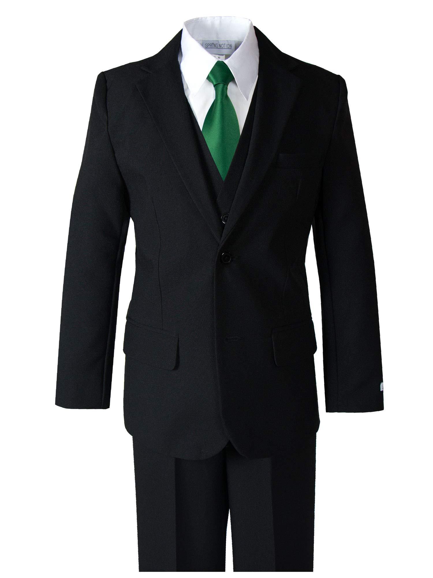 Spring Notion Big Boys' Modern Fit Dress Suit Set 8 Black w/Emerald Tie