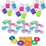 Multiple 80s Rock Star or Pop Dress-Up Set for 12 - 12 Pairs Fingerless Fishnet Wrist Gloves, 12 Sunglasses, 144 Neon Gel Bracelets and 80s Trivia Questions