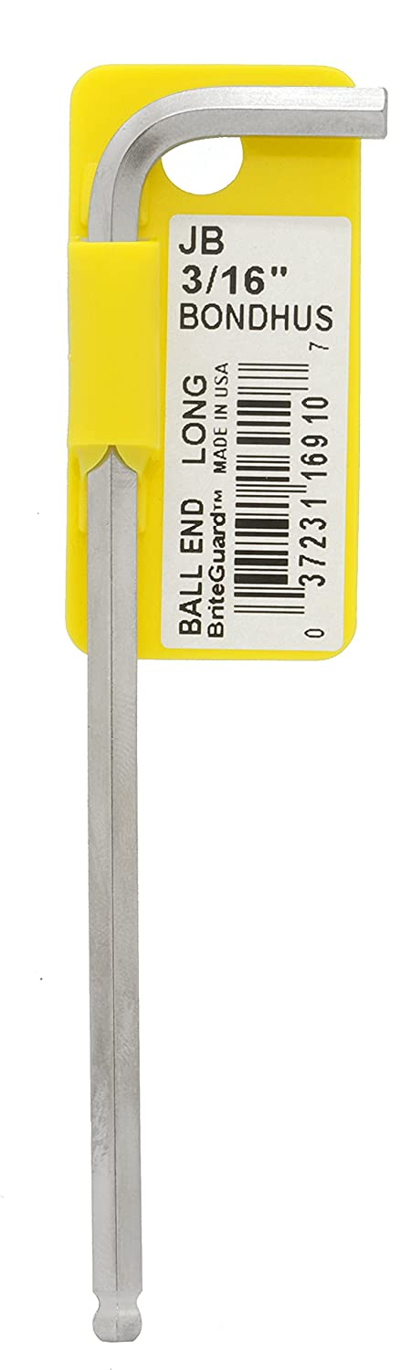 """Bondhus 16910 3/16"""" Ball End Tip Hex Key L-Wrench with BriteGuard Finish, Tagged and Barcoded, Long Arm"""