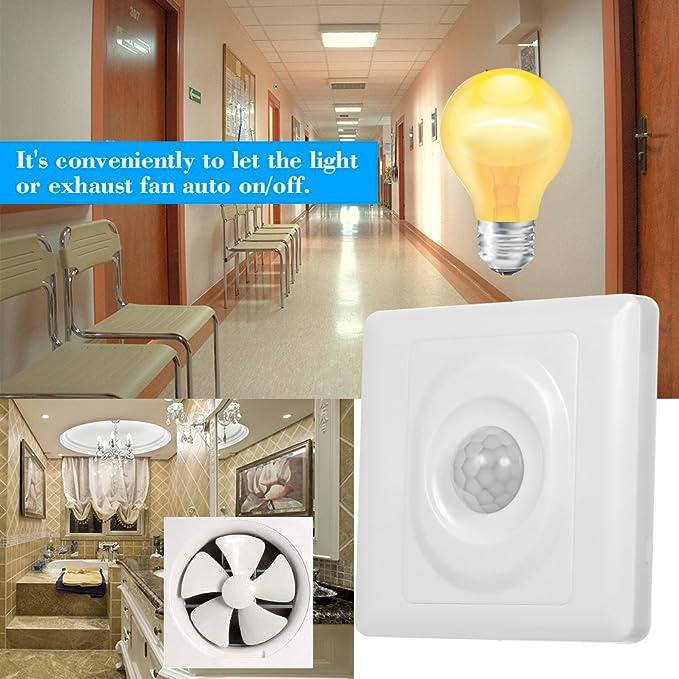 OWSOO Sensor de Movimiento Infrarrojo Autom/ático Detector de Movimiento PIR Interruptor ON//Off de Luz Montado en Pared