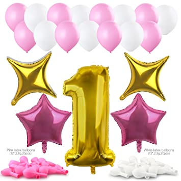 Konsait 40Inch número 1 Foil Globos Gigantes y Globos en Forma de Estrella (4pcs) Rosa Blanco de Látex Globos (40pcs) Accesorio para Fiestas de Boda ...