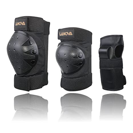 LANOVAGEAR Kids Men Women Adjustable Knee Elbow Pads Wrist Guards Safety  Protective Gear Set Cycling Bicycle 48acb9e8a8