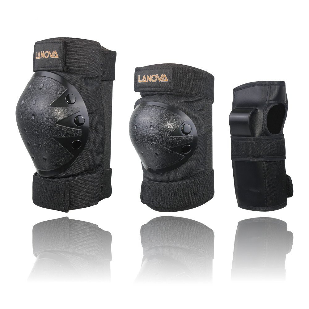 LANOVAGEAR Kids Men Women Adjustable Knee Elbow Pads Wrist Guards Safety Protective Gear Set Cycling Bicycle Inline Skating (Black, Medium)