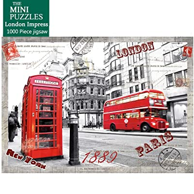 Mini 1000 Pieces Jigsaw Puzzles for Adults London Impress Puzzles London Bus Jigsaw Puzzles: Toys & Games