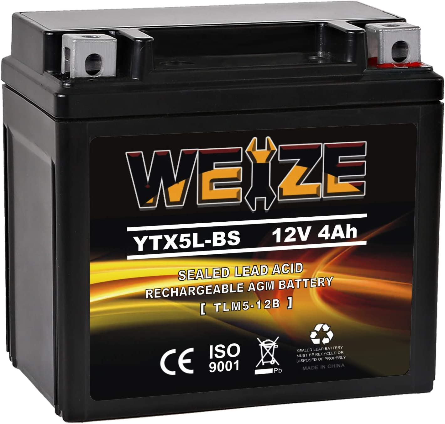 WEIZE YTX5L-BS High Performance - Maintenance Free - Sealed AGM