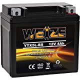 Weize YTX5L-BS High Performance - Maintenance Free - Sealed AGM Motorcycle CTX5L Battery compatible with Honda YUASA Yamaha E