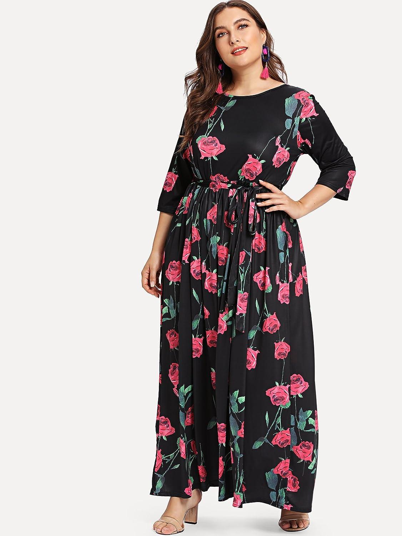 364868f2cf9 Romwe Women s Plus Size Floral Print 3 4 Sleeve Tie Waist Long Maxi Dress  at Amazon Women s Clothing store