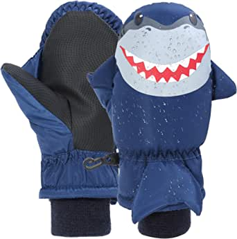 7-Mi Guantes de esquí de Invierno para niños Resistentes al Agua Shark Warm Outdoor Nylon Mitten para 3-6Y
