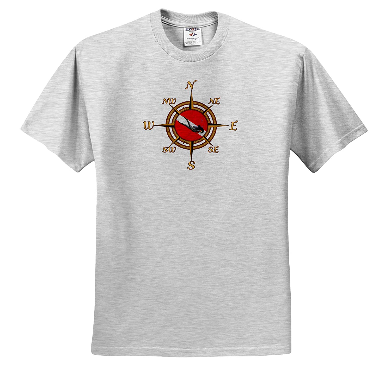 3dRose Macdonald Creative Studios - T-Shirts A Compass Rose Inset with a Scuba Dive Flag and Scuba Diver Scuba