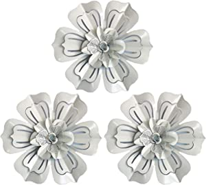 Metal Flower Wall Art Home Decor for Indoor Outdoor (White-3pcs)