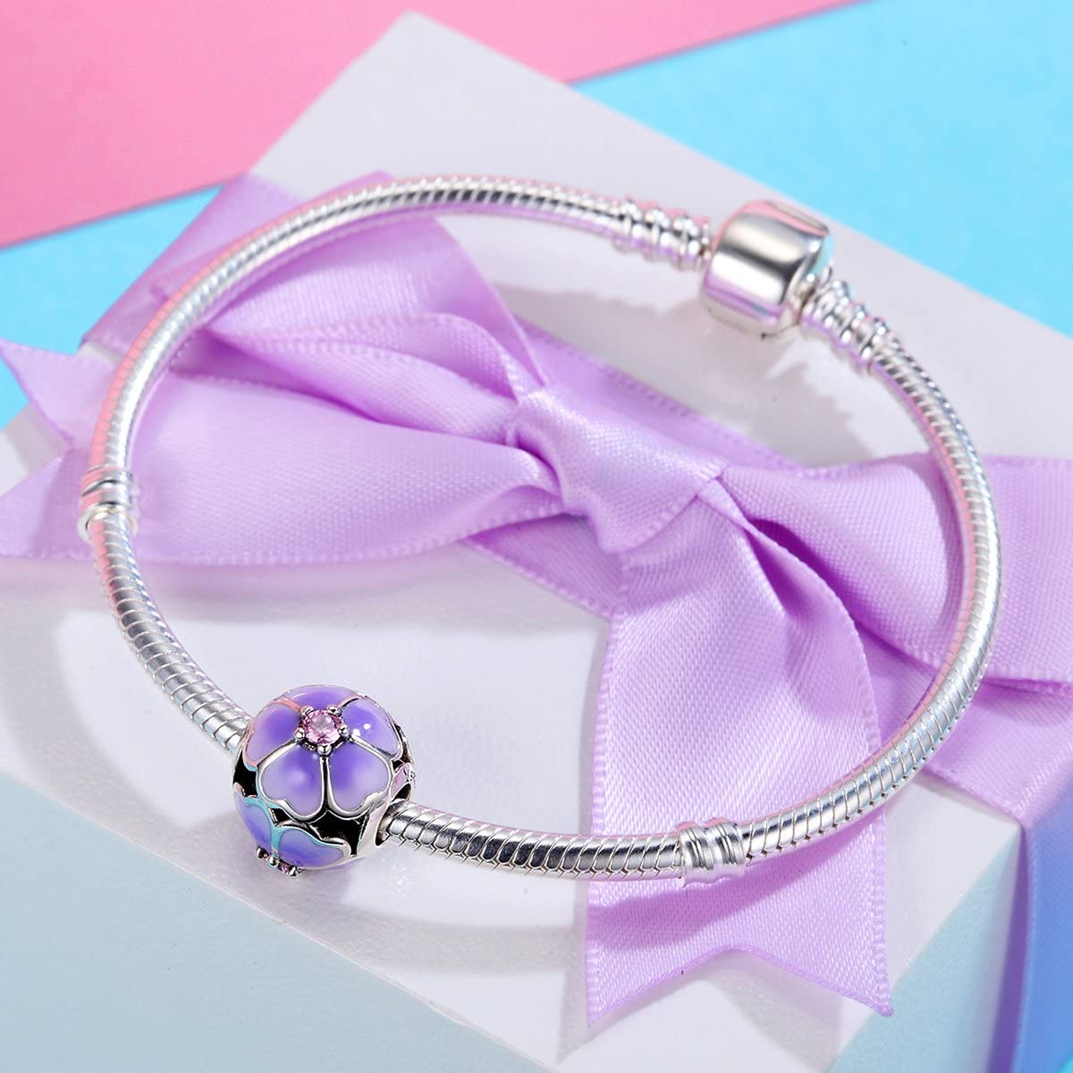 The Kiss Nature Blessing Daisy Flower 925 Sterling Silver Bead Fits European Charm Bracelet