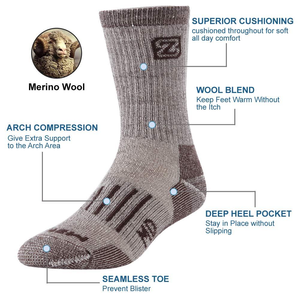 ZEALWOOD Womens Crew Hiking Trekking Socks Thermal Merino Wool Anti Blister Sport Outdoor Sock